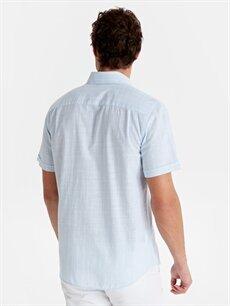 Erkek Regular Fit Çizgili Kısa Kollu Poplin Gömlek