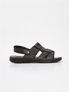 Siyah Erkek Deri Görünümlü Sandalet 9SU562Z8 LC Waikiki