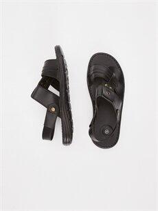 Diğer malzeme (pvc)  Erkek Deri Görünümlü Sandalet