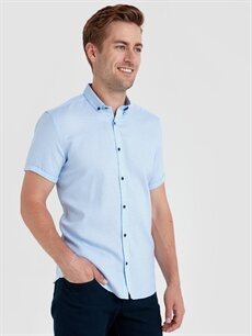Mavi Slim Fit Armürlü Kısa Kollu Gömlek 9SU570Z8 LC Waikiki