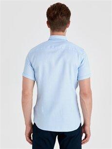 Erkek Slim Fit Armürlü Kısa Kollu Gömlek