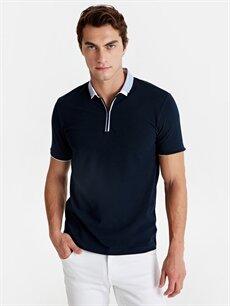 %100 Pamuk Dar Düz Kısa Kol Tişört Polo Slim Fit Polo Yaka Pike Tişört