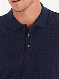 %100 Pamuk Polo Yaka Baskılı Kısa Kollu Pike Tişört
