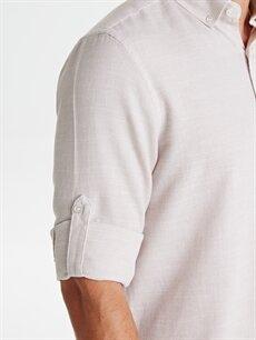 %100 Pamuk Regular Fit Armürlü Uzun Kollu Poplin Gömlek