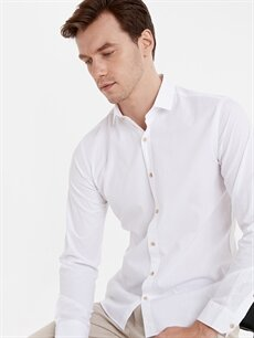 Beyaz Slim Fit Armürlü Uzun Kollu Gömlek 9SV278Z8 LC Waikiki
