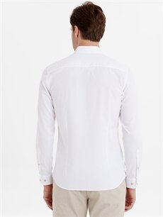 %100 Pamuk Dar Düz Uzun Kol Gömlek Düğmesiz Slim Fit Armürlü Uzun Kollu Gömlek