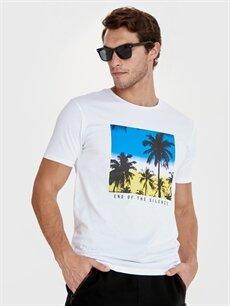 Beyaz Bisiklet Yaka Baskılı Kısa Kollu Pamuklu Tişört 9SV417Z8 LC Waikiki