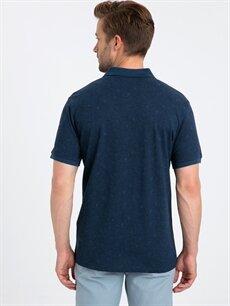 %100 Pamuk  Polo Yaka Çiçek Baskılı Kısa Kollu Pamuklu Tişört