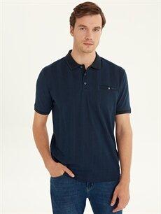 %51 Pamuk %49 Polyester Çizgili Bol Kısa Kol Tişört Polo Polo Yaka Kısa Kollu Pike Tişört