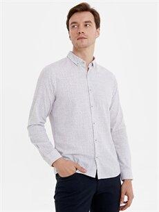 %100 Pamuk Dar Desenli Uzun Kol Gömlek Düğmeli Slim Fit Desenli Uzun Kollu Poplin Gömlek