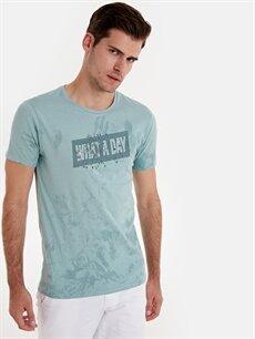 %100 Pamuk Baskılı Standart Kısa Kol Tişört Bisiklet Yaka Yazı Baskılı Kısa Kollu Pamuklu Tişört