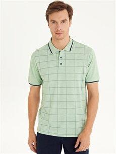 %50 Pamuk %50 Polyester Çizgili Standart Kısa Kol Tişört Polo Polo Yaka Kısa Kollu Ekose Tişört
