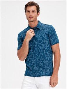 Erkek Polo Yaka Çiçek Baskılı Kısa Kollu Pamuklu Tişört