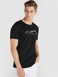 Siyah Atatürk İmzası Baskılı Tişört 9SY577Z8 LC Waikiki
