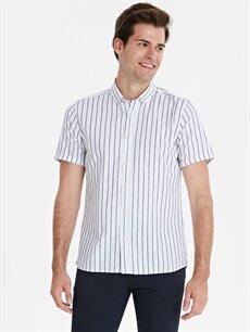 Beyaz Slim Fit Çizgili Kısa Kollu Poplin Gömlek 9SY662Z8 LC Waikiki