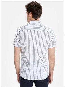 %100 Pamuk Dar Çizgili Kısa Kol Gömlek Düğmeli Slim Fit Çizgili Kısa Kollu Poplin Gömlek