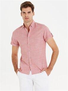 Kırmızı Slim Fit Kısa Kollu Poplin Gömlek 9SY663Z8 LC Waikiki