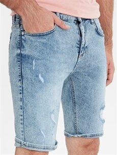 %98 Pamuk %2 Elastan Skinny Fit Yırtık Detaylı Bermuda Jean Şort