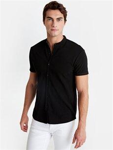 Siyah Slim Fit Hakim Yaka Pike Gömlek 9SY822Z8 LC Waikiki