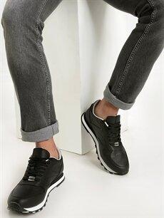 Siyah Letoon Erkek Deri Görünümlü Spor Ayakkabı