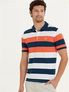 %100 Pamuk Standart Çizgili Kısa Kol Tişört Polo Polo Yaka Çizgili Kısa Kollu Pike Tişört