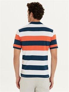 Erkek Polo Yaka Çizgili Kısa Kollu Pike Tişört
