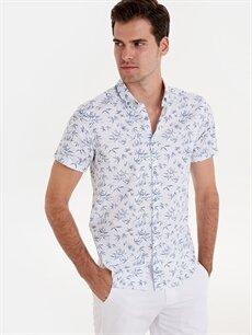%100 Pamuk Dar Desenli Kısa Kol Gömlek Düğmeli Slim Fit Desenli Kısa Kollu Poplin Gömlek