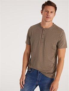 %100 Pamuk Düz Kısa Kol Tişört Diğer Standart Düğme Yakalı Basic Kısa Kollu Tişört