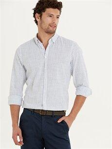 %100 Pamuk Dar Uzun Kol Çizgili Gömlek Düğmeli Slim Fit Çizgili Uzun Kollu Poplin Gömlek