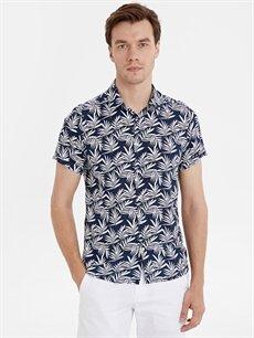 Lacivert Slim Fit Desenli Kısa Kollu Viskon Gömlek 9SA704Z8 LC Waikiki