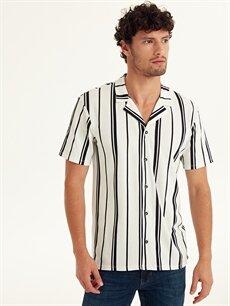%100 Pamuk Dar Çizgili Kısa Kol Gömlek Düğmesiz Slim Fit Çizgili Kısa Kollu Pike Gömlek