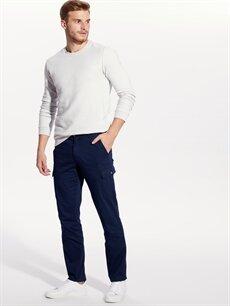 %98 Pamuk %2 Elastan Normal Bel Normal Pilesiz Pantolon Regular Fit Armürlü Pantolon