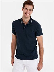 Lacivert Slim Fit Polo Yaka Jakarlı Tişört 9SB109Z8 LC Waikiki