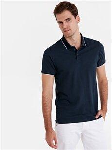 %100 Pamuk Dar Düz Kısa Kol Tişört Polo Slim Fit Polo Yaka Jakarlı Tişört