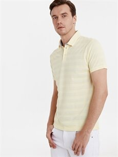 %83 Pamuk %17 Polyester Dar Çizgili Kısa Kol Tişört Polo Slim Fit Polo Yaka Çizgili Pike Tişört