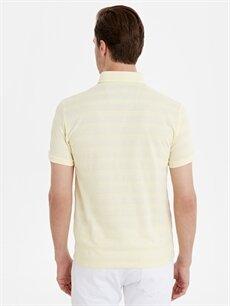 Erkek Slim Fit Polo Yaka Çizgili Pike Tişört