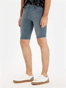 %85 Pamuk %13 Polyester %2 Elastan Şort Skinny Fit Bermuda Jean Şort