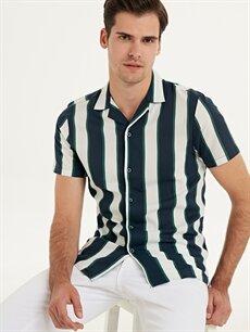 %100 Viskoz Dar Çizgili Kısa Kol Gömlek Düğmesiz Slim Fit Çizgili Kısa Kollu Pamuklu Gömlek