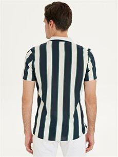 Erkek Slim Fit Çizgili Kısa Kollu Pamuklu Gömlek