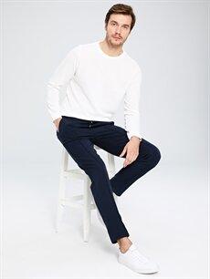 %78 Polyester %17 Viskoz %5 Elastan Normal Bel Pantolon Dar Pilesiz Slim Fit Bilek Boy Poliviskon Pantolon