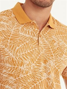 %100 Pamuk Slim Fit Polo Yaka Baskılı Pike Tişört