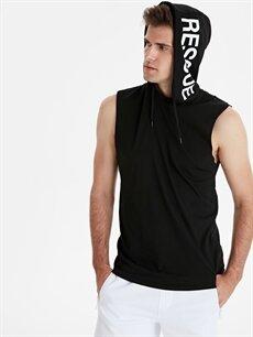 Siyah Kapüşonlu Baskılı Pamuklu Atlet 9SC576Z8 LC Waikiki