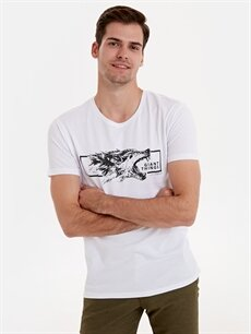 %100 Pamuk Baskılı Standart Kısa Kol Tişört Bisiklet Yaka Baskılı Kısa Kollu Pamuklu Tişört