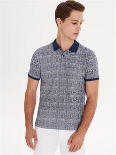 %100 Pamuk Dar Baskılı Kısa Kol Tişört Polo Slim Fit Polo Yaka Baskılı Pike Tişört