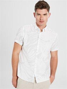 Gri Slim Fit Baskılı Kısa Kollu Poplin Gömlek 9SC732Z8 LC Waikiki