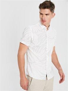 %100 Pamuk Dar Desenli Kısa Kol Gömlek Düğmesiz Slim Fit Baskılı Kısa Kollu Poplin Gömlek