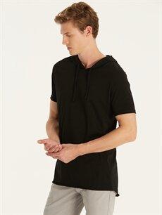 Siyah Kapüşonlu Kısa Kollu Basic Tişört 9SC964Z8 LC Waikiki