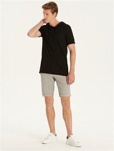 Erkek Kapüşonlu Kısa Kollu Basic Tişört