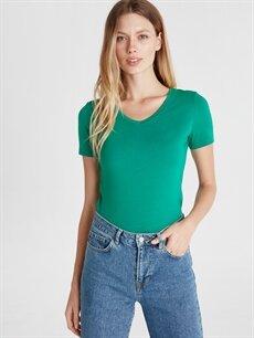 %96 Pamuk %4 Elastan Standart Düz Kısa Kol Tişört V yaka V Yaka Düz Pamuklu Tişört