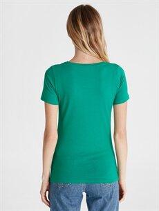 Kadın V Yaka Düz Pamuklu Tişört